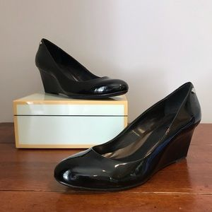 Calvin Klein Black Patent Leather Wedges Size 7.5